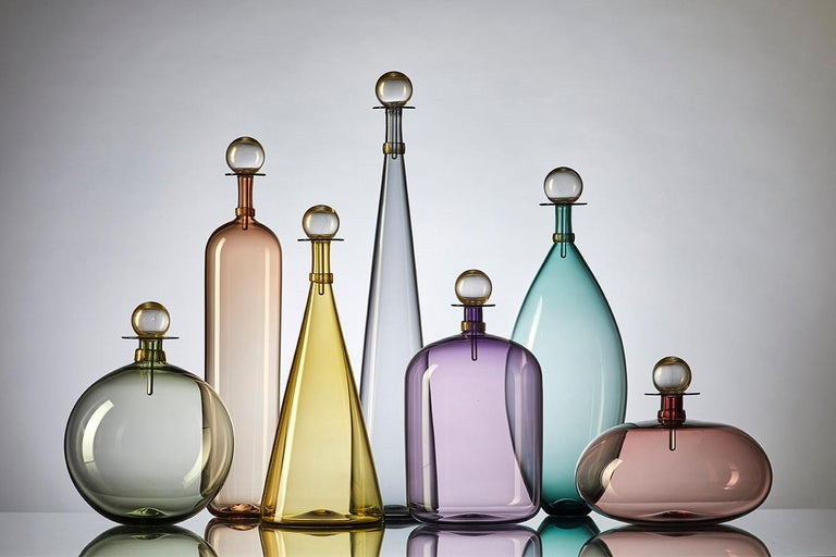 Contemporary Collection of 5 Large Hand Blown Glass Carafes in Smoke Colors by Vetro Vero For Sale