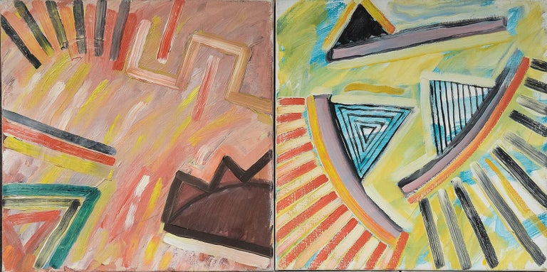Collection of 5 Morten Tøgern Compositions, Oil on Canvas, 1987 In Excellent Condition For Sale In Belmont, MA