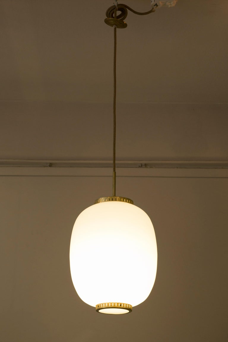 Collection of 5 Opaline Glass and Brass Ceiling Fixtures, Bent Karlby for Lyfa In Good Condition In Paris, Ile-de-France
