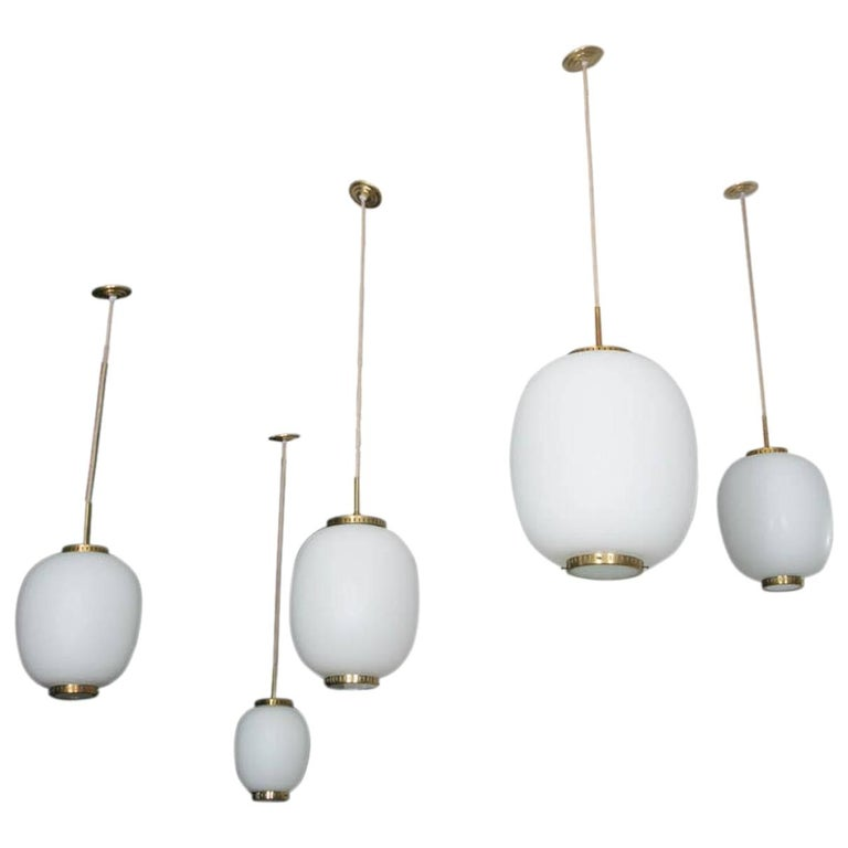 Collection of 5 Opaline Glass and Brass Ceiling Fixtures, Bent Karlby for Lyfa