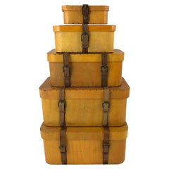 Collection of 5 Vintage Stacked Graduated Bentwood and Leather Suitcases