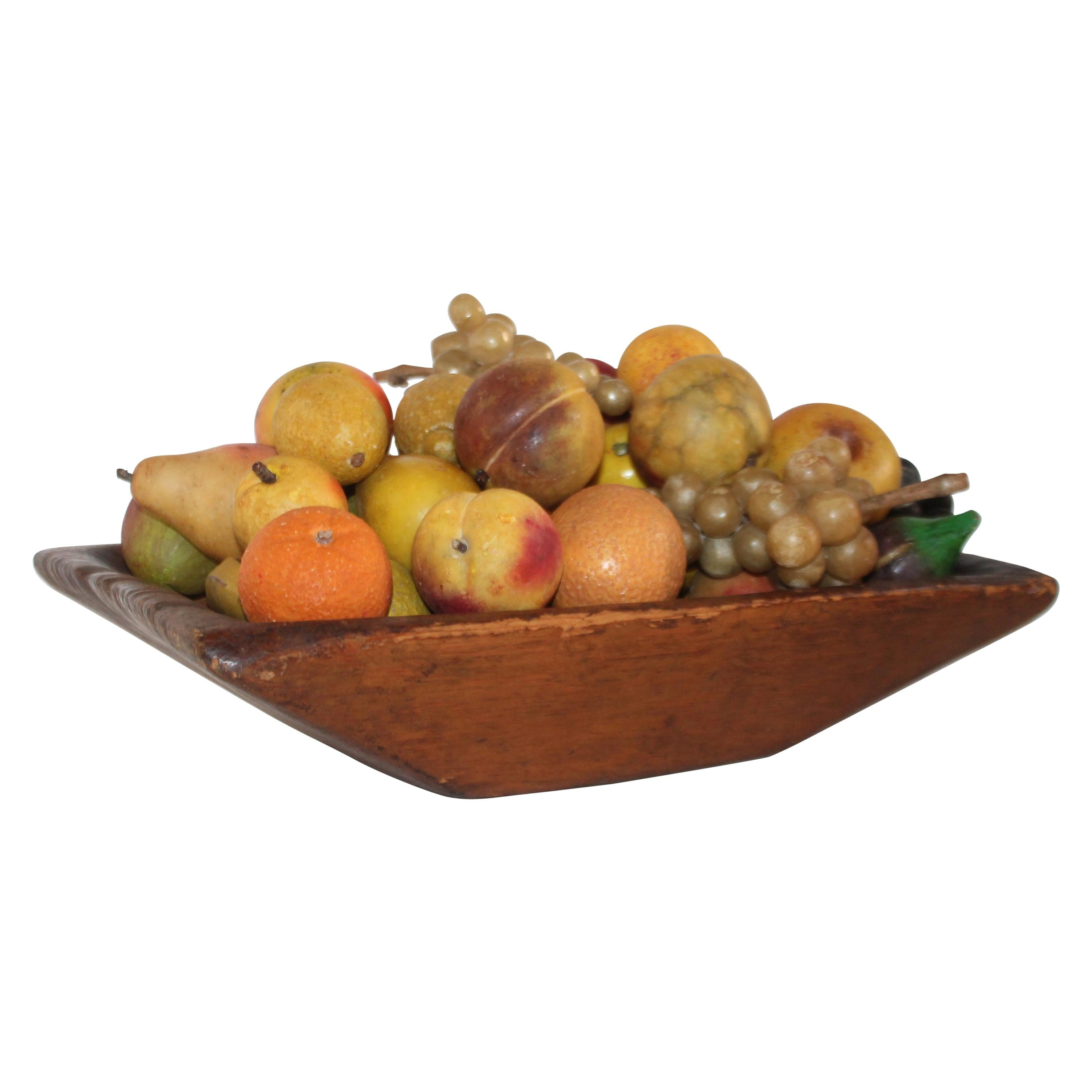 Collection of 50 Pieces of Stone Fruit in 19th Century Hand Carved Bowl