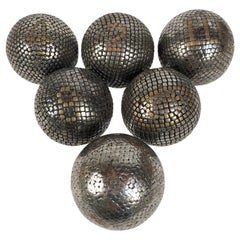 Collection of 6 Antique French Steel and Brass Studded Pétanque Balls