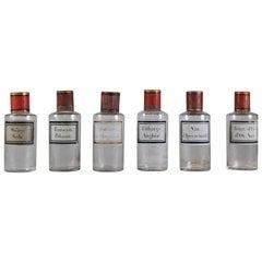 Collection of 6 Original Apothecary Bottles