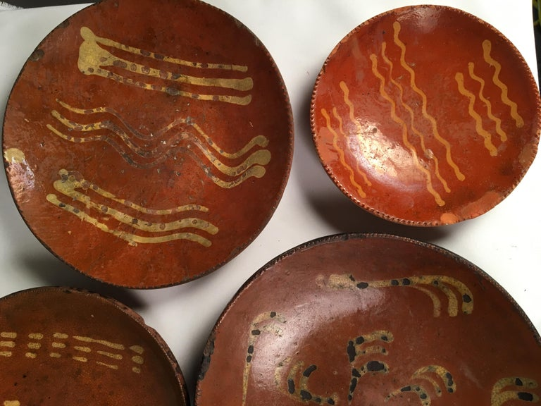 American Collection of 6 Pennsylvania Redware Plates, 19th Century For Sale