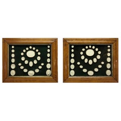 Collection of 64 Antique Grand Tour Intaglios in Two Fruitwood Frames