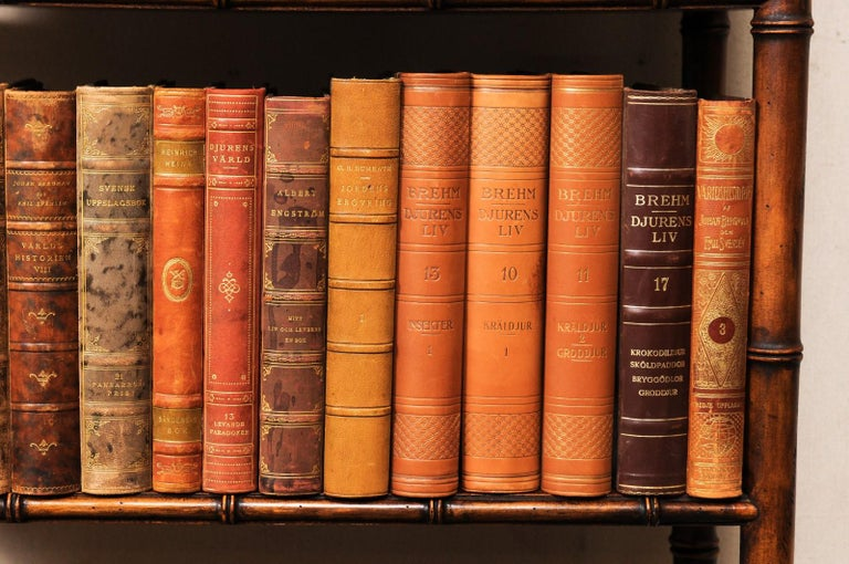 Collection of 65 Antique Swedish Leather-Bound Books from the 1920s For Sale 6