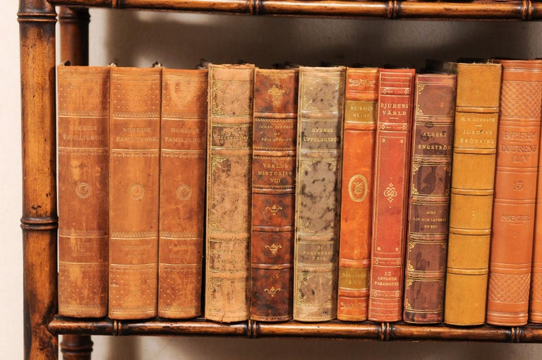 Collection of 65 Antique Swedish Leather-Bound Books from the 1920s For Sale 7