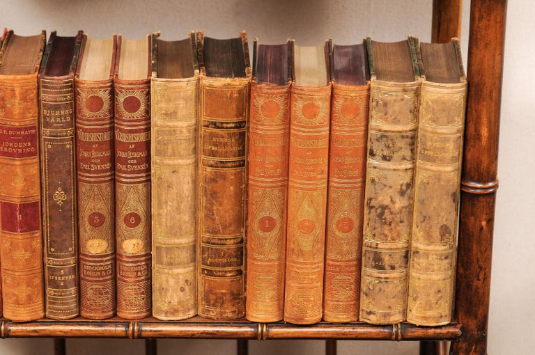 An attractive collection of 65 Swedish antique leather-bound books. This set of 1920s literature books from Sweden are wrapped in leather-bound covers, comprised of varying rich, warm tones and gold leaf print embossing. The books seated