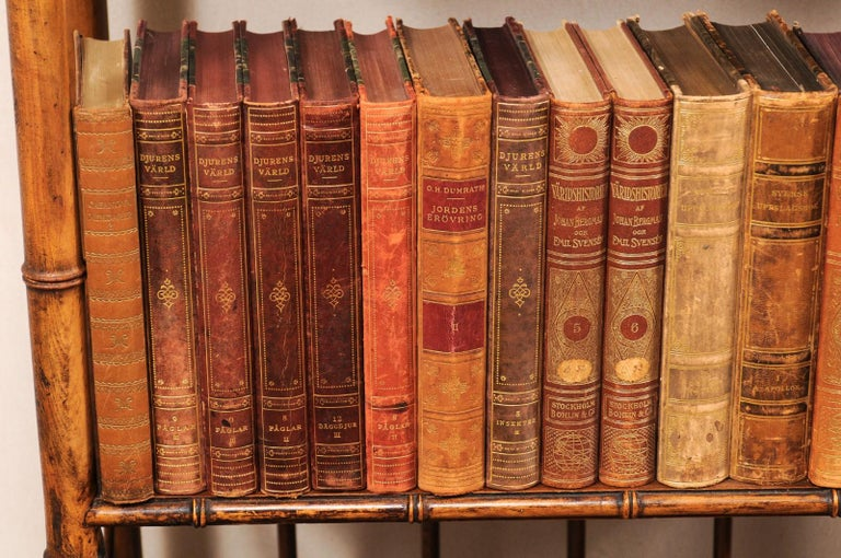 Collection of 65 Antique Swedish Leather-Bound Books from the 1920s In Good Condition For Sale In Atlanta, GA