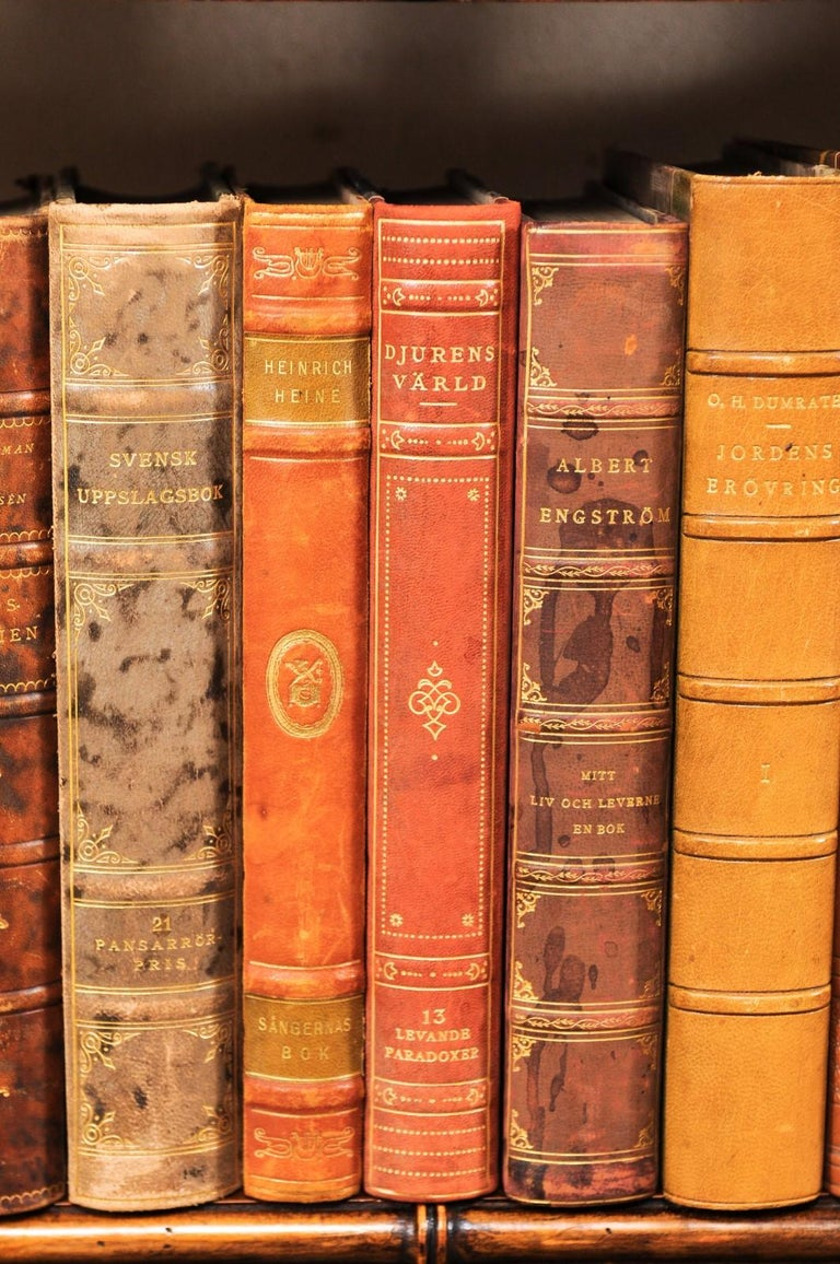 20th Century Collection of 65 Antique Swedish Leather-Bound Books from the 1920s For Sale