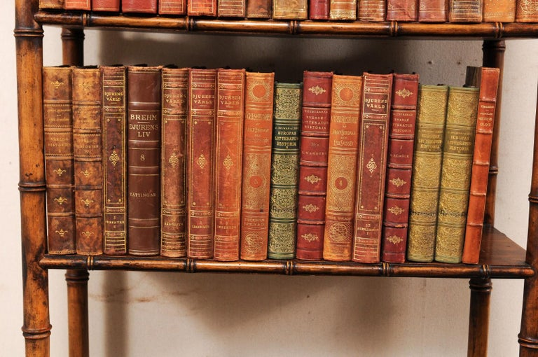 Collection of 65 Antique Swedish Leather-Bound Books from the 1920s For Sale 1