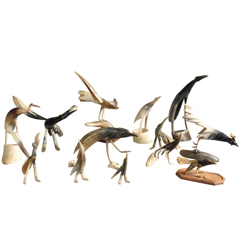 Collection of 70 Vintage Hand-Carved Cow Horn Sculptures, 20th Century For Sale