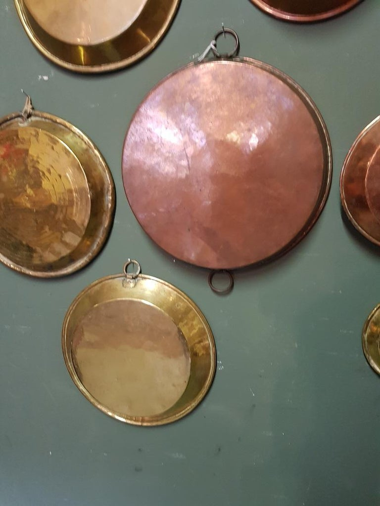19th Century Collection of 9 Antique French Copper Dishes from the 19th and 18th Century For Sale