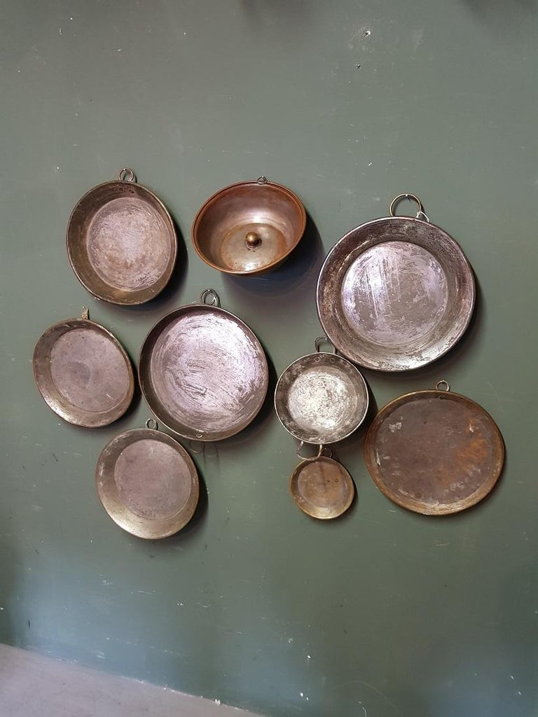 Collection of 9 Antique French Copper Dishes from the 19th and 18th Century For Sale 2