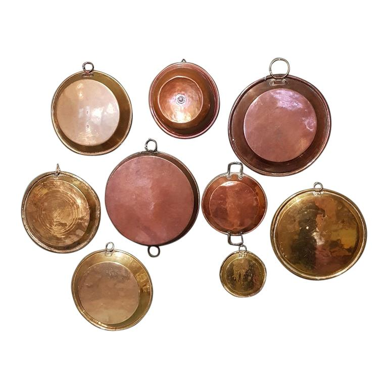 Collection of 9 Antique French Copper Dishes from the 19th and 18th Century For Sale