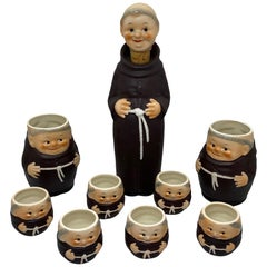 Collection of 9 Friars Franciscan Monks Porcelain, Bottle, Shot Glasses Steins