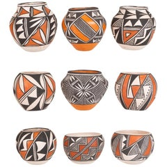 Collection of 9 Miniature Native American Acoma Pottery