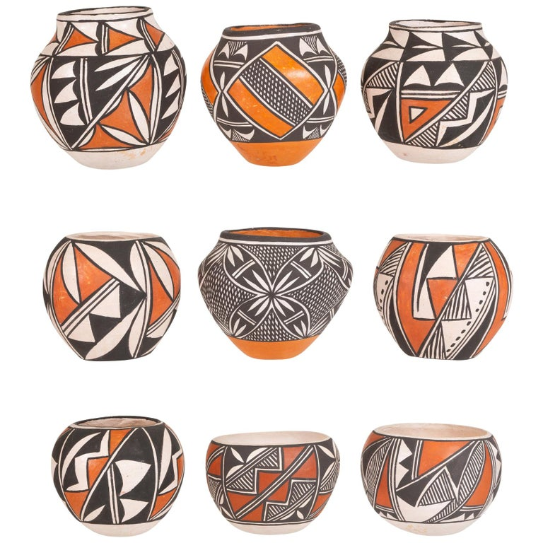 Collection of 9 Miniature Native American Acoma Pottery For Sale