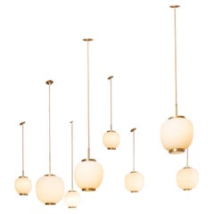 Collection of 9 Opaline Glass and Brass Ceiling Fixtures, Bent Karlby for Lyfa