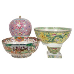 Collection of Antique Chinese Famille Rose Porcelain Jar and Bowls