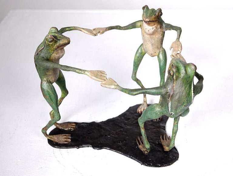 Austrian Collection of Antique Cold Painted Vienna Bronze Frogs For Sale