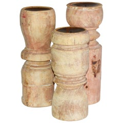 Collection of Antique Rustic Turn Wood Candleholders