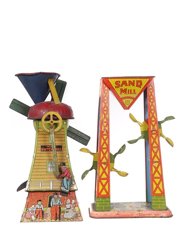 Unknown Collection of Antique Tin Litho Sand Toys For Sale