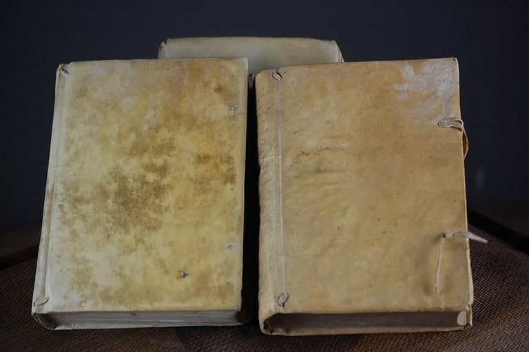 18th Century Collection of Antique Velum Books For Sale