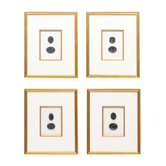 Collection of Black Intaglio Seals, Displayed Within Custom Golden Wood Frames