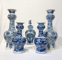 Collection of Blue and White Dutch Delft Vases