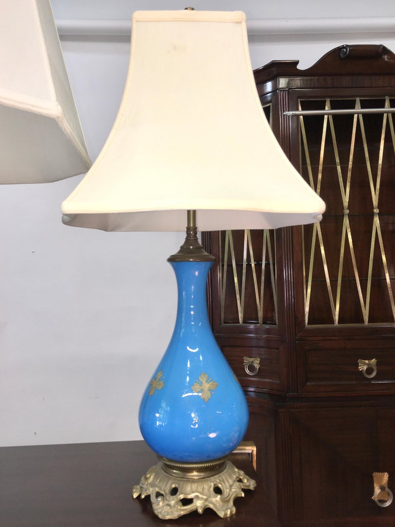 Collection of Blue Glass, Opaline & Ceramic Lamps For Sale 4