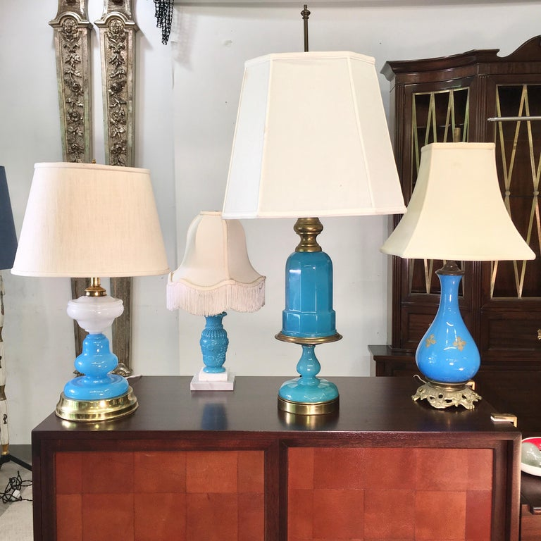 Collection of Blue Glass, Opaline & Ceramic Lamps For Sale 8