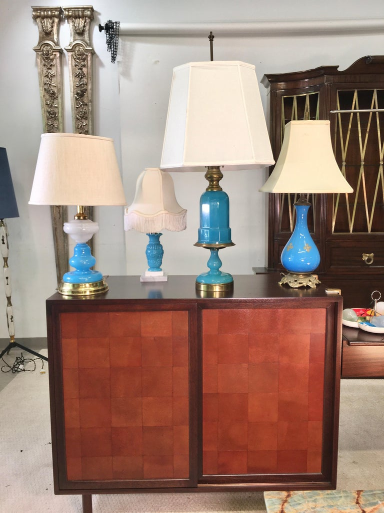 Collection of Blue Glass, Opaline & Ceramic Lamps For Sale 9