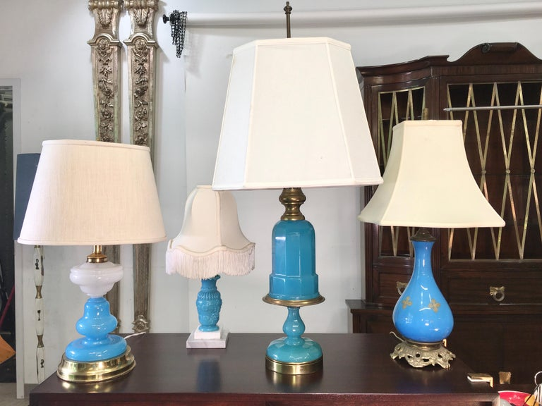 Collection of Blue Glass, Opaline & Ceramic Lamps For Sale 10