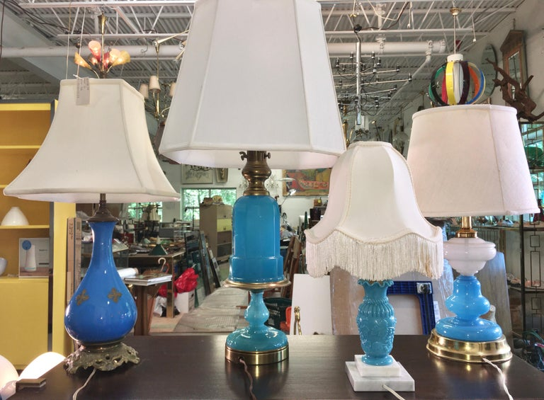 Collection of Blue Glass, Opaline & Ceramic Lamps For Sale 11