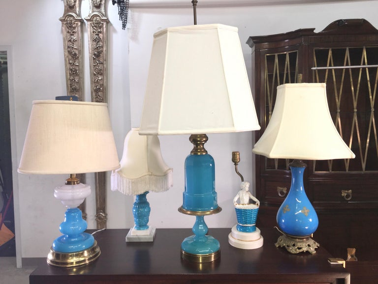 Collection of Blue Glass, Opaline & Ceramic Lamps For Sale 12