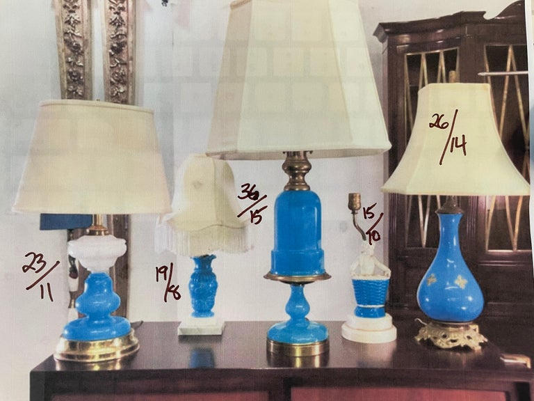 Collection of Blue Glass, Opaline & Ceramic Lamps For Sale 13
