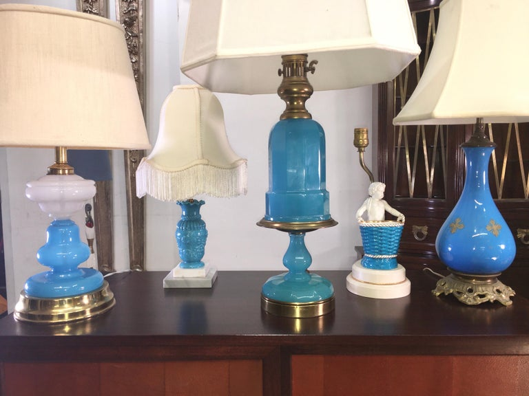 French Collection of Blue Glass, Opaline & Ceramic Lamps For Sale