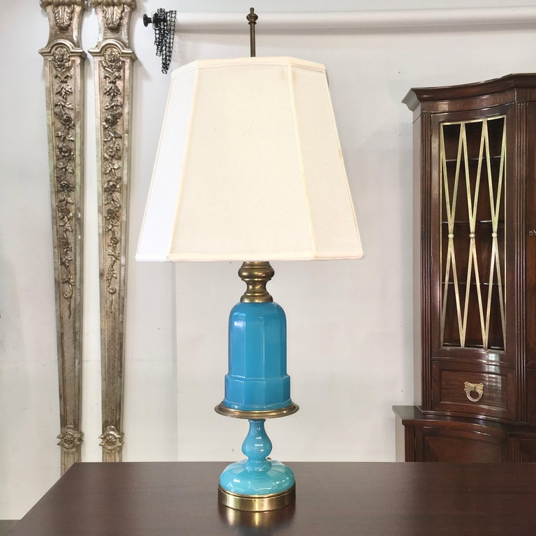 Gilt Collection of Blue Glass, Opaline & Ceramic Lamps For Sale