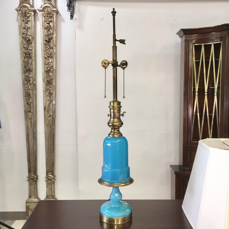 Mid-20th Century Collection of Blue Glass, Opaline & Ceramic Lamps For Sale