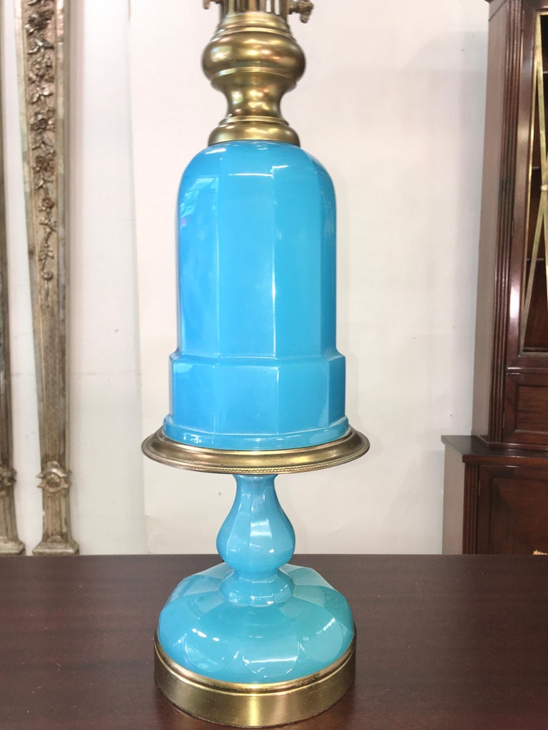 Collection of Blue Glass, Opaline & Ceramic Lamps For Sale 1