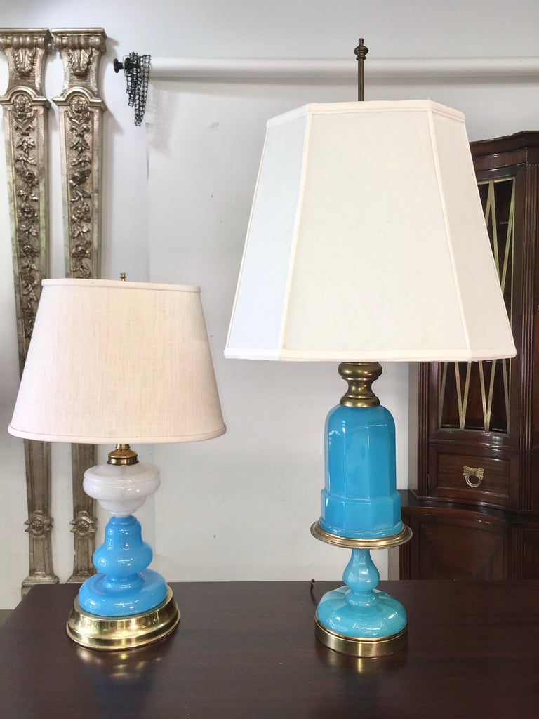 Collection of Blue Glass, Opaline & Ceramic Lamps For Sale 2