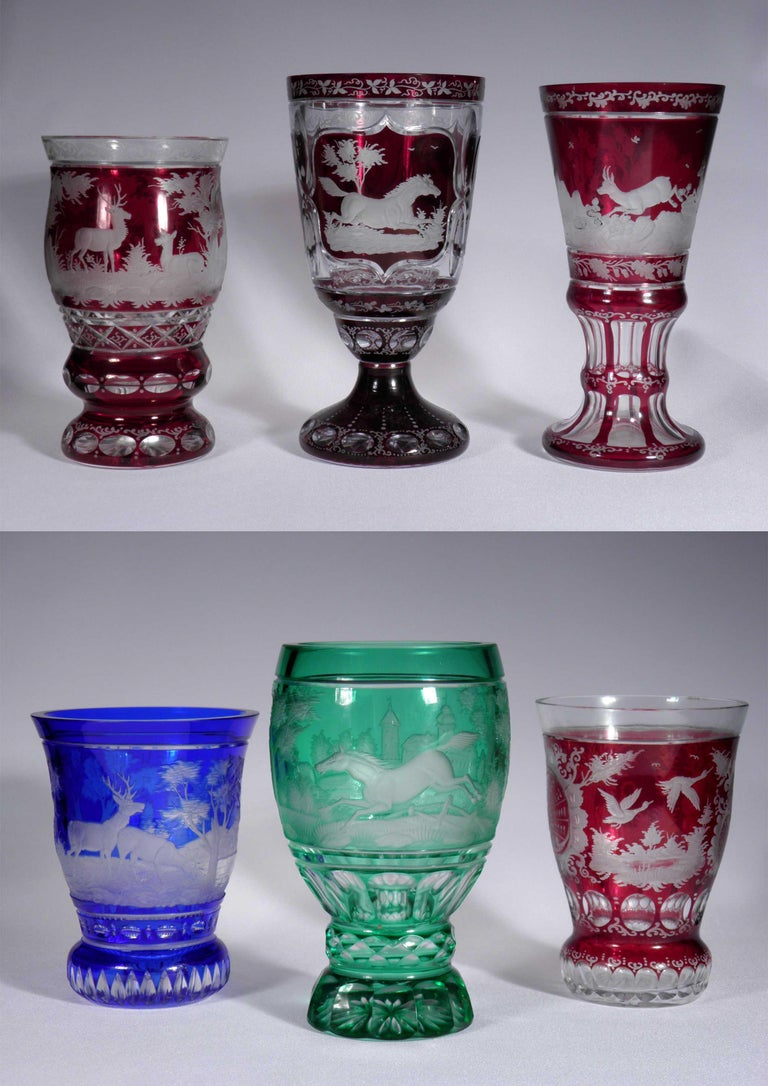Czech Collection of Bohemian European Vintage Glass For Sale