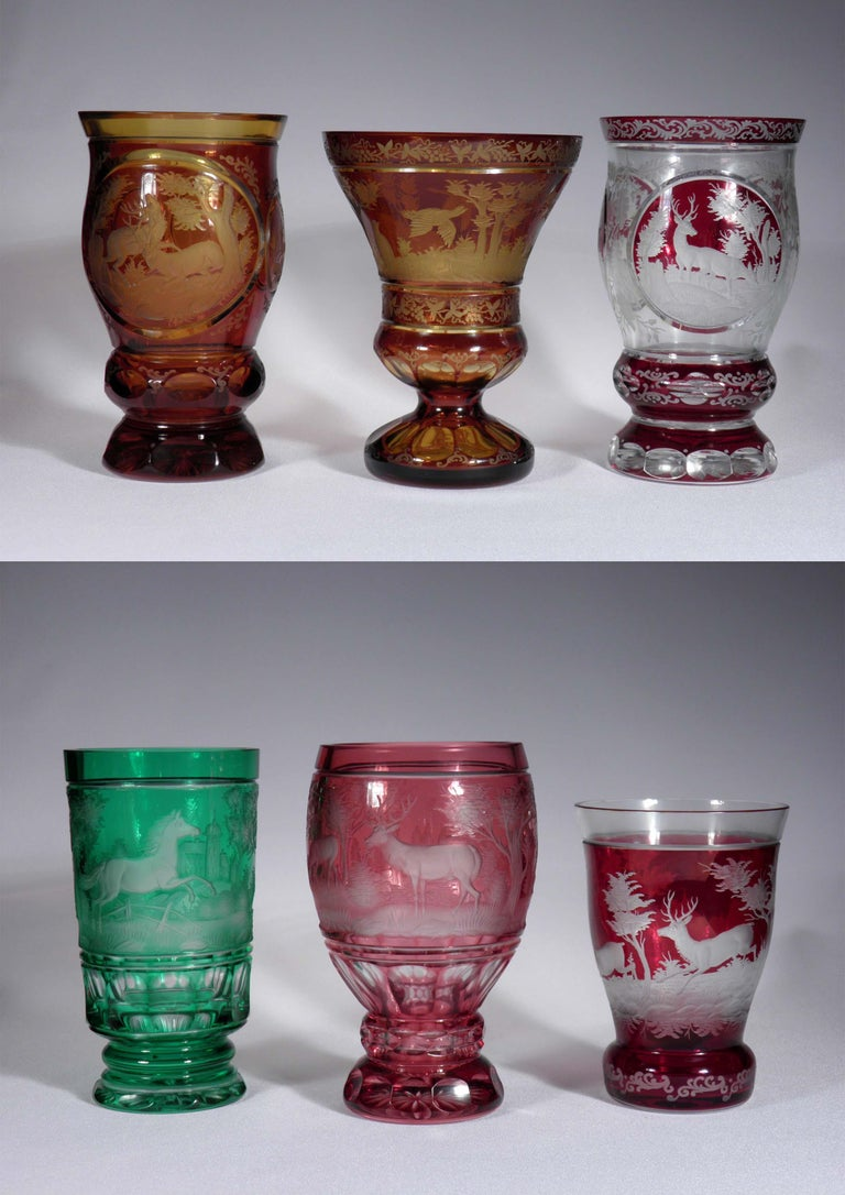 Engraved Collection of Bohemian European Vintage Glass For Sale