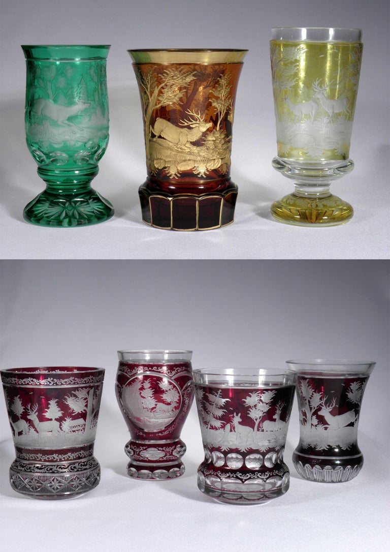 20th Century Collection of Bohemian European Vintage Glass For Sale