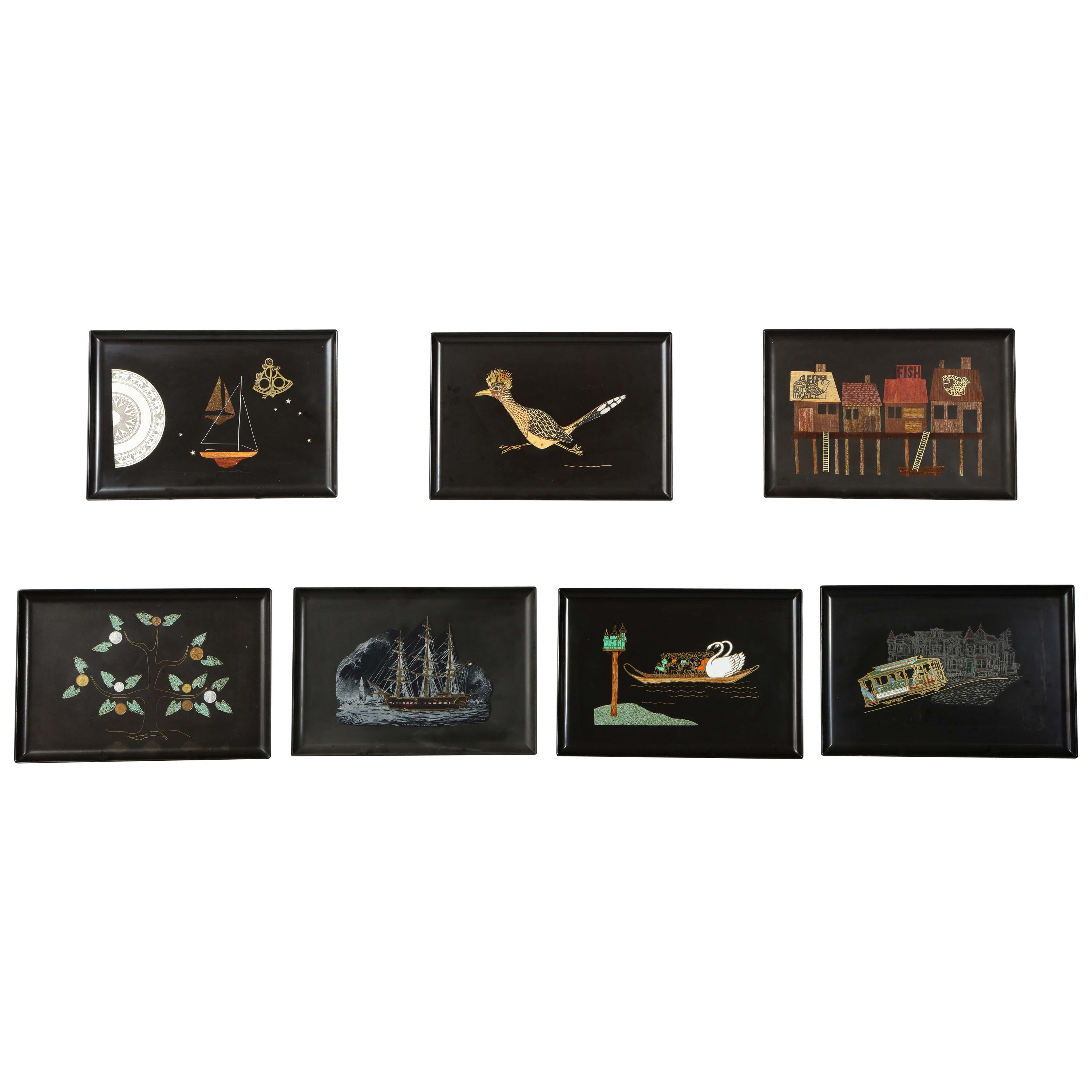 Collection of Couroc Trays