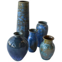 Collection of Crystalline Glazed Ceramics in Blue