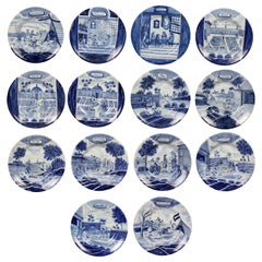Collection of Delft Blue and White Month Plates