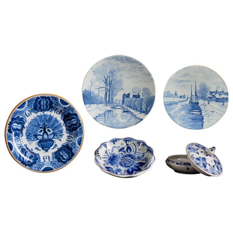 Collection of Delft Blue Hand Painted Ceramics For Sale